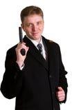 Mężczyzna w kostiumu celuje od krócicy obraz royalty free