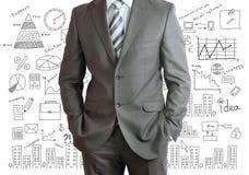 Mężczyzna w kostiumu i planie biznesowym Zdjęcie Royalty Free