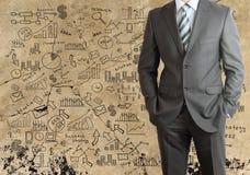 Mężczyzna w kostiumu i planie biznesowym Fotografia Stock
