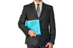 Mężczyzna w kostiumu mienia dokumentach Zdjęcie Royalty Free
