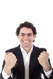Mężczyzna w kostiumu mienia seansu i telefonu komórkowego znaku sukces w Obrazy Stock