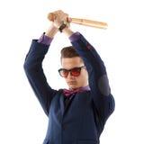 Mężczyzna w kostiumu z kijem bejsbolowym Obrazy Stock
