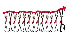 12 mężczyzna w krawatach niosą czerwoną strzała, wzrostowa mapa Naprzód w czarnym kostiumu jest lider metafora ilustracja wektor