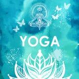 Mężczyzna w lotosowej joga pozie na akwareli tle Zdjęcie Stock