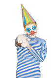 Mężczyzna w masce błazen w pasiastej koszulce Zdjęcia Stock