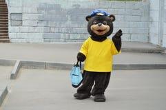 Mężczyzna w niedźwiadkowym kostiumu w mieście w dniu ochrona zwierzęta, wakacyjna rozrywka, reklamuje zdjęcie stock