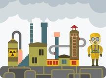 Mężczyzna w ochronnym kostiumu i maska gazowa na zanieczyszczenia tle Zdjęcie Stock