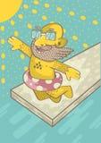 Mężczyzna w okularach przeciwsłonecznych z brodą skacze w wodę pod Obrazy Stock