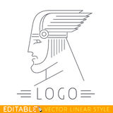 Mężczyzna w oskrzydlonym hełmie Głowa grek lub Viking bóg Loga szablon Editable wektorowa grafika w liniowym stylu royalty ilustracja