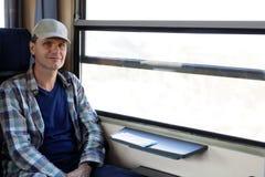 Mężczyzna w pociągu Fotografia Royalty Free