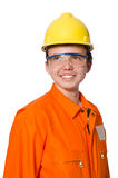 Mężczyzna w pomarańczowych coveralls na bielu Obrazy Royalty Free