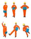 Mężczyzna w pomarańczowych coveralls odizolowywających na bielu Zdjęcia Royalty Free