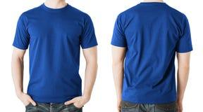 Mężczyzna w pustej błękitnej koszulce, przodzie i tylnym widoku, obraz stock