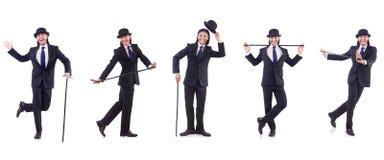 Mężczyzna w rocznika pojęciu z chodzącym kijem Zdjęcia Stock