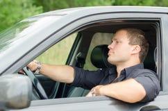 Mężczyzna w samochodzie Obraz Stock