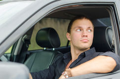 Mężczyzna w samochodzie Obraz Royalty Free