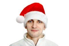 Mężczyzna w Santa kapeluszu na białym tle obrazy stock