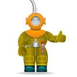 Mężczyzna w starym nurkowym kostiumu Podwodny hełm Odosobniony przedmiot tła postać z kreskówki zuchwałych ślicznych psów szczęśl Fotografia Royalty Free