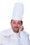 Mężczyzna w szefów kuchni biel Obraz Royalty Free
