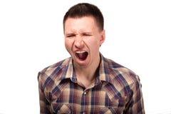 Mężczyzna w szkockiej kraty koszula krzykach Zdjęcie Royalty Free