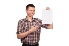 Mężczyzna w szkockiej kraty koszula z pustą białą deską Fotografia Stock