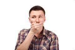 Mężczyzna w szkockiej kraty koszula z usta zamykającym Obraz Royalty Free