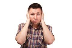 Mężczyzna w szkockiej kraty koszula z zamkniętymi ucho Obraz Stock