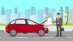 Mężczyzna w wypadek samochodowy kreskówki Wektorowej ilustracji royalty ilustracja