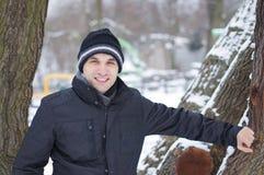 Mężczyzna w zimie zdjęcia royalty free