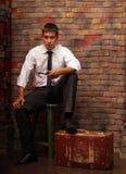 mężczyzna walizka Zdjęcia Royalty Free