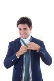 Mężczyzna wiążący krawat Zdjęcia Stock
