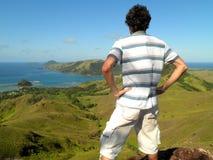 Mężczyzna wierzchołek góra Fotografia Stock