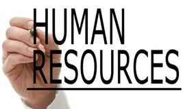 Mężczyzna writing działy zasobów ludzkich na wirtualnym ekranie Obraz Stock