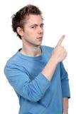 Mężczyzna wskazuje up przy kopii przestrzenią Obrazy Stock