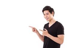 Mężczyzna wskazuje w górę jego palców Zdjęcie Royalty Free