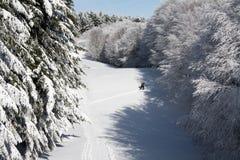 Mężczyzna wspina się śnieżnego skłon samotnie Fotografia Royalty Free