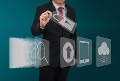 Mężczyzna wybrana komputerowa ikona na dotyka ekranie Fotografia Stock