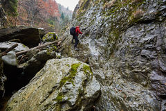 Mężczyzna wycieczkowicza góry wspinaczkowe ściany Obraz Royalty Free