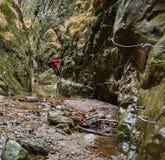 Mężczyzna wycieczkowicza góry wspinaczkowe ściany Obrazy Stock