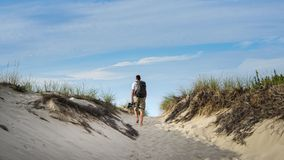 Mężczyzna Wycieczkuje w piasku w Cape Cod Zdjęcia Stock