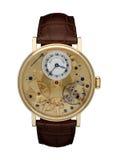 Mężczyzna złocisty zegarek odizolowywający fotografia stock