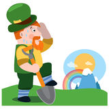 Mężczyzna z łopatą St Patrick s dzień Obraz Stock