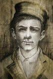 Mężczyzna z ściegami w wargi opresi pojęciu ilustracji