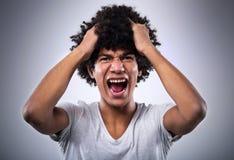 Mężczyzna z afro krzyczeć Zdjęcia Royalty Free