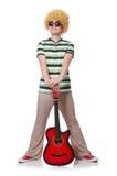 Mężczyzna z afro peruką z gitarą Fotografia Royalty Free