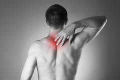 Mężczyzna z backache Ból w ciele ludzkim zdjęcia royalty free