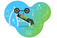 Mężczyzna z barbell Bawi się aktywność w gym Barwiący tło i zdrowe styl życia ikony zdjęcie stock