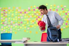 Mężczyzna z bokserskimi rękawiczkami w biurze z wiele sprzeczny przeor obraz royalty free