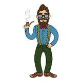 Mężczyzna z brodą i wąsy w szkłach Zdjęcie Royalty Free