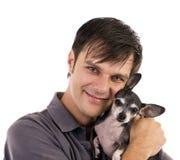 Mężczyzna z chihuahua zwierzęciem domowym Obraz Stock